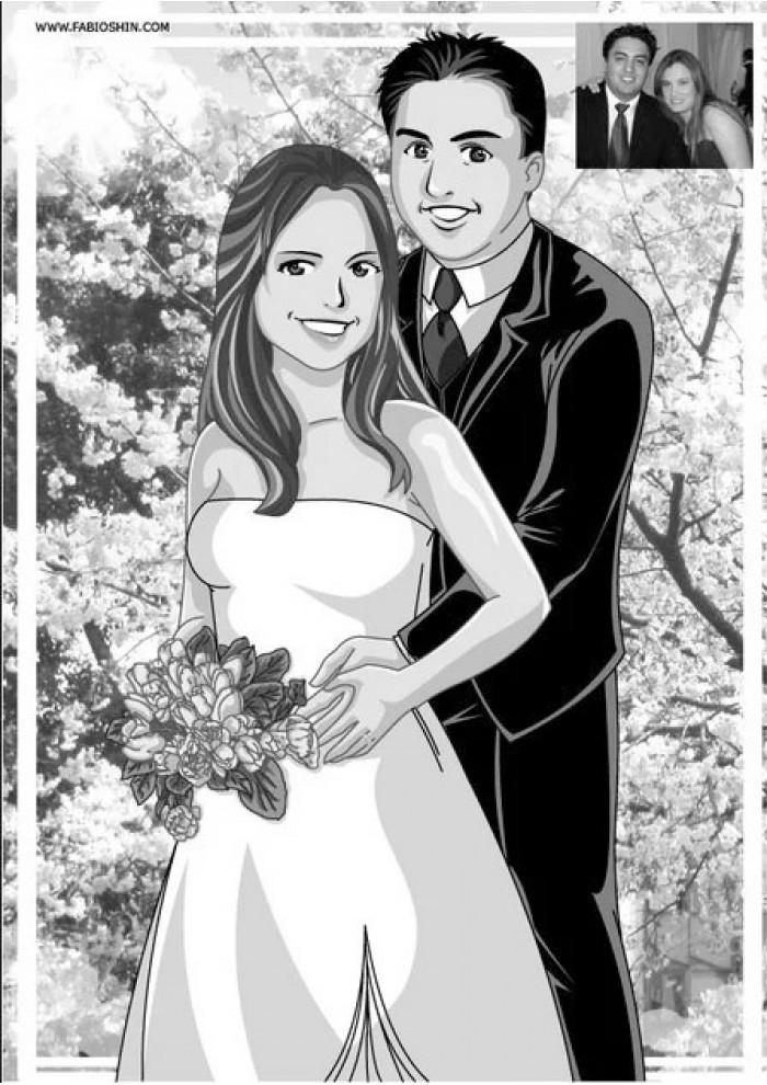 Casamento Preto e Branco (Vetor)