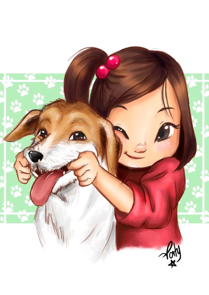 Caricatura com Pet Colorida